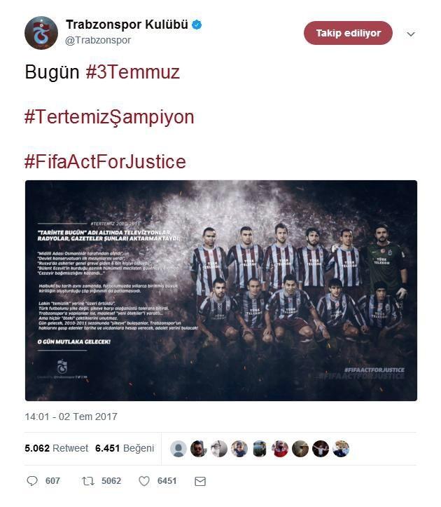 Trabzonspordan 3 Temmuz Paylaşımı