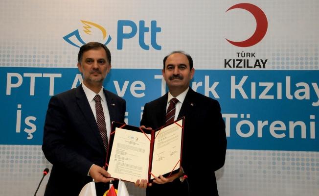 PTT AŞ VE TÜRK KIZILAY ARASINDA İŞBİRLİĞİ PROTOKOLÜ İMZALANDI.