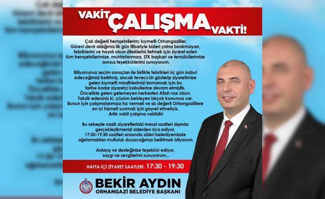"""BAŞKAN BEKİR AYDIN: """"VAKİT ÇALIŞMA VAKTİDİR!"""""""