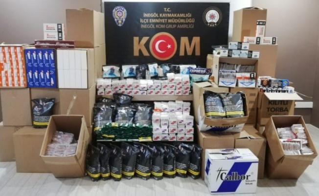 Bursa'da çok sayıda kaçak makaron ve tütün ele geçirildi