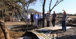 Nilüfer Belediye Başkanı yangın bölgesini yerinde inceledi